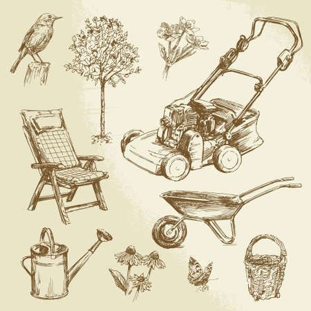 lawn chair: gardening - hand drawn set