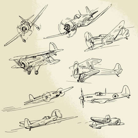 hand drawn airplanes Vector