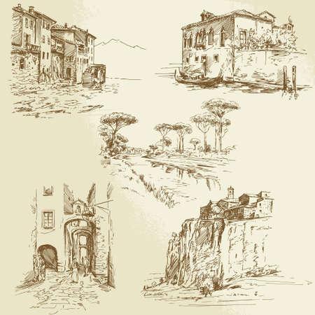 イタリアの風景 - 手描きセット  イラスト・ベクター素材
