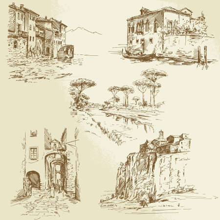 romantic getaway: italian landscape - hand drawn set Illustration