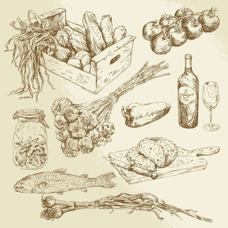 フード コレクション - 手描きセット 写真素材 - 22083931