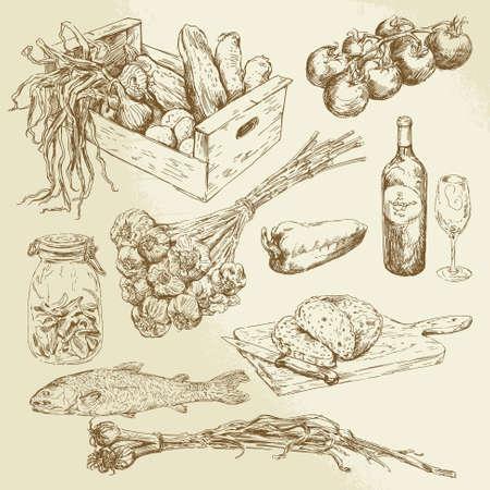 garlic bread: food collection - hand drawn set