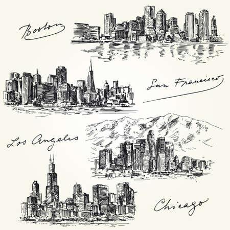 городской пейзаж: американских городов горизонты - рисованной набор Иллюстрация