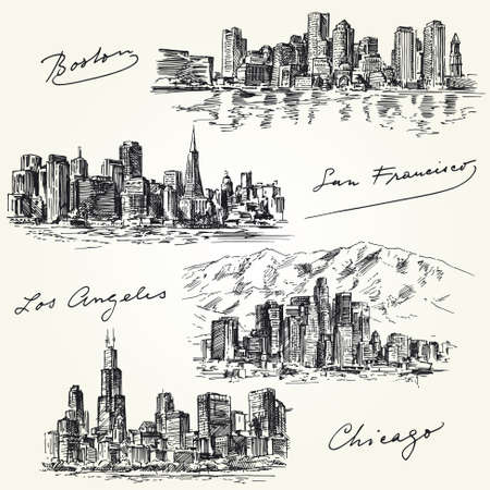 chicago skyline: american cities skylines - hand drawn set