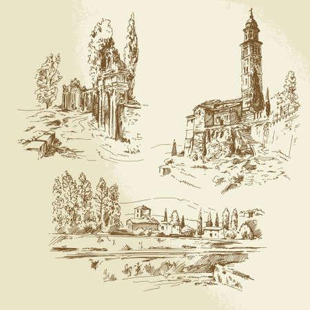 イタリアの農村風景 - 手描きイラスト  イラスト・ベクター素材
