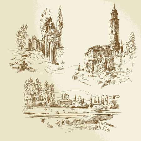 italian rural landscape - hand drawn illustration Stock Vector - 23119272