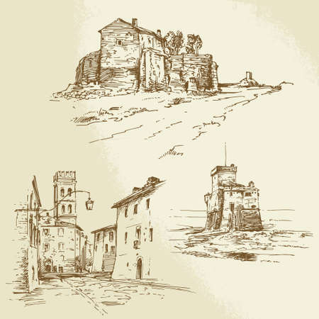 italian rural houses - hand drawn collection