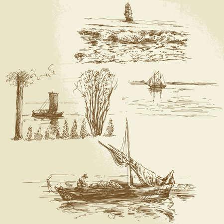 szállítás: hajózási gyűjtemény Illusztráció