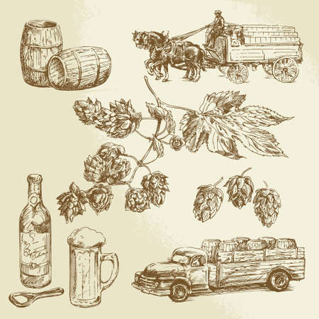 horse drawn carriage: beer - hand drawn collection