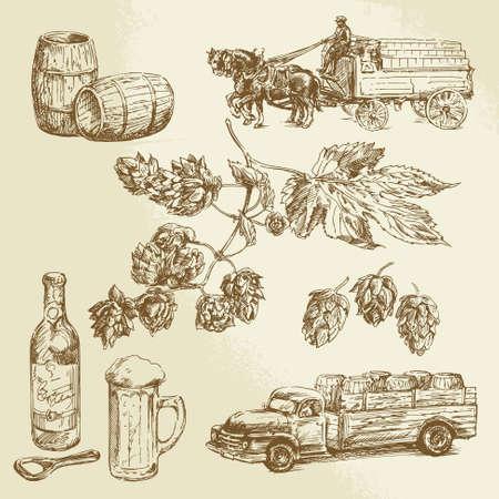 caballo bebe: cerveza - colección dibujado a mano Vectores