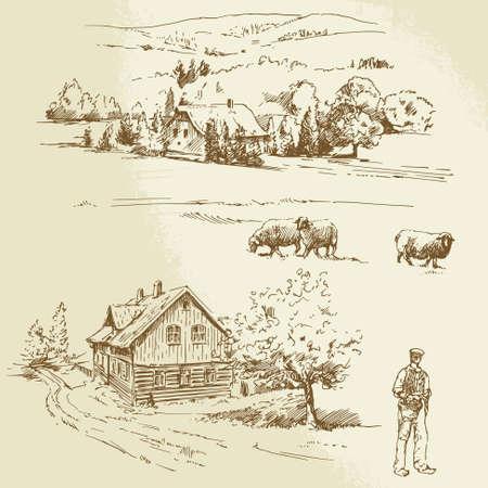 農業農村景観  イラスト・ベクター素材