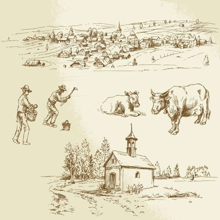farm house: rural village, agriculture - hand drawn illustration