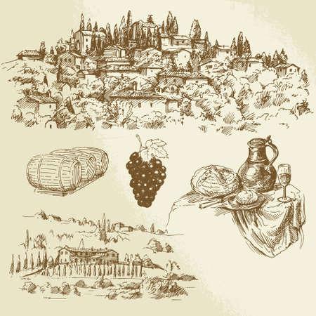grape harvest: Italian rural landscape - vineyard - hand drawn illustration
