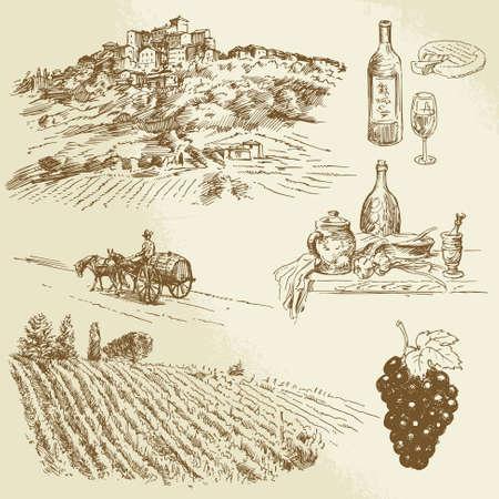 wijn en spijzen: Italiaans landschap, wijngaard - hand getrokken illustratie Stock Illustratie