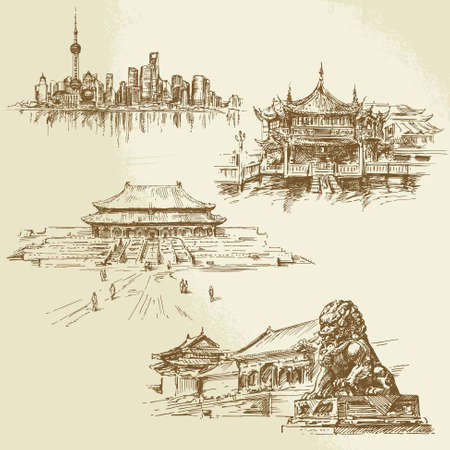 shanghai skyline: shanghai - chinese heritage - hand drawn set
