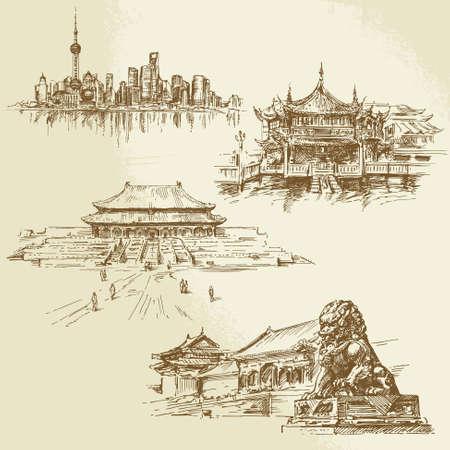 shanghai - patrimonio chino - conjunto de dibujado a mano