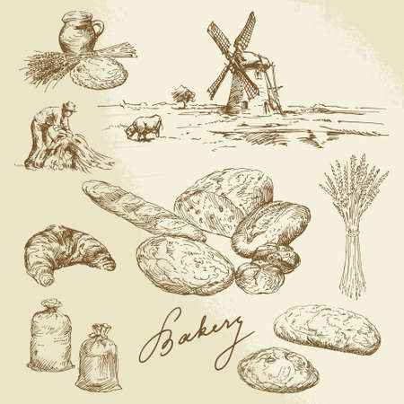 bakery, rural landscape, bread - hand drawn set Illustration