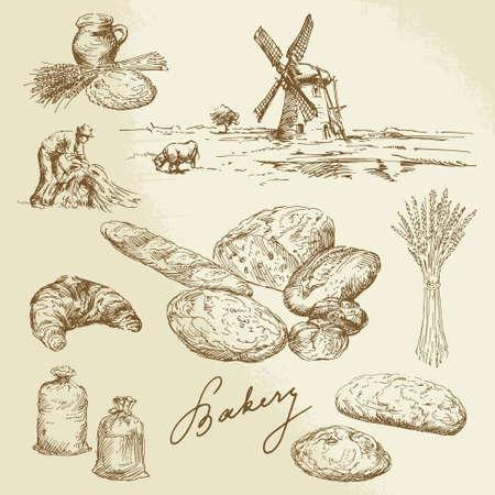 MOLINOS DE VIENTO: panadería, paisaje rural, pan - conjunto de dibujado a mano Vectores