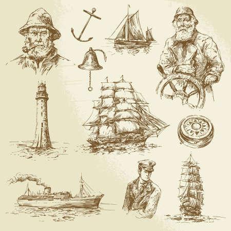 elementy morskich - ręcznie rysowane zestaw Ilustracje wektorowe