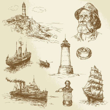 Lighthouse: nautical elements - hand drawn set