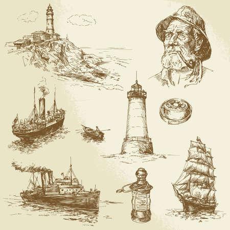 nautical elements - hand drawn set Banco de Imagens - 24058231