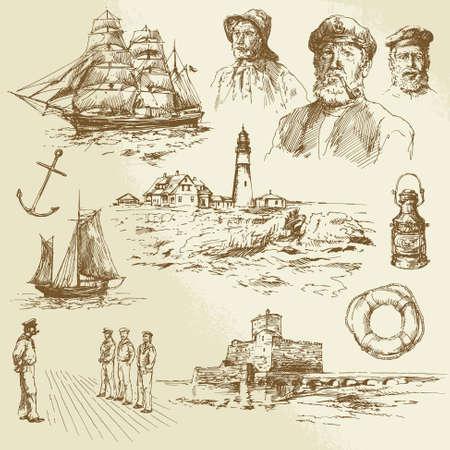 elementy morskich - ręcznie rysowane zestaw