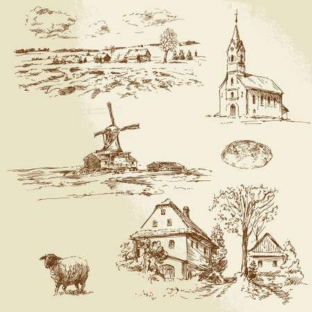 casa de campo: paisaje rural, granja - ilustraci�n dibujados a mano Vectores