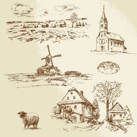 rurale landschap, boerderij - hand getrokken illustratie Vector Illustratie
