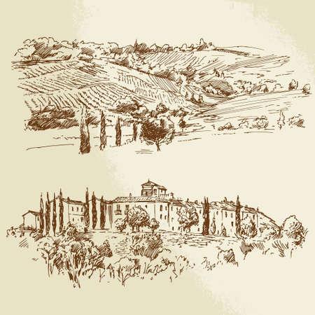 wijngaard, romantisch landschap - hand getrokken illustratie Stock Illustratie