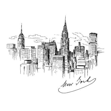 skyline nyc: Nueva York - ilustraci�n dibujados a mano