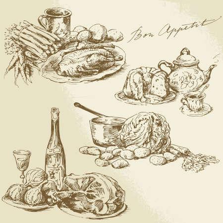 still life food: still life, food - hand drawn collection Illustration