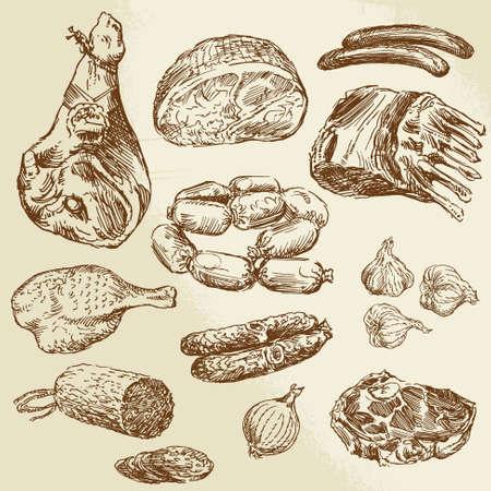 salami: carne - colección de dibujado a mano