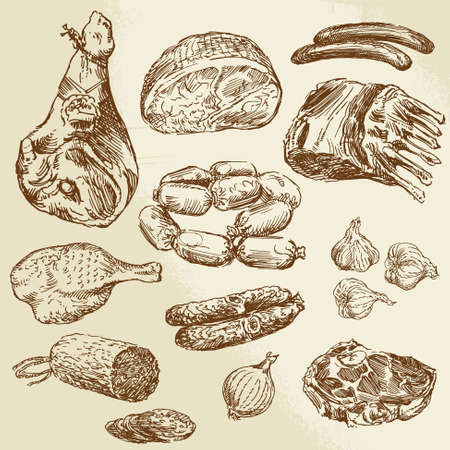meat - hand drawn collection  Ilustracja