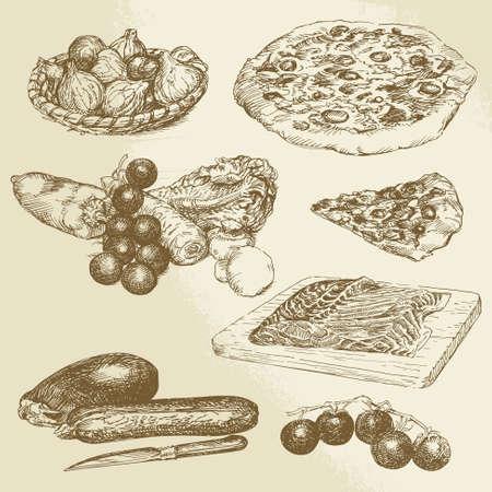 włoskie jedzenie, ręcznie rysowane zestaw - pizzeria, warzywa