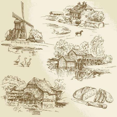 molino de agua: colección de dibujado a mano - molino de viento y molino de agua Vectores