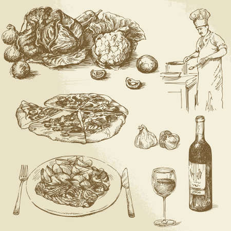 сбор винограда: коллекция пищи - пицца, овощи