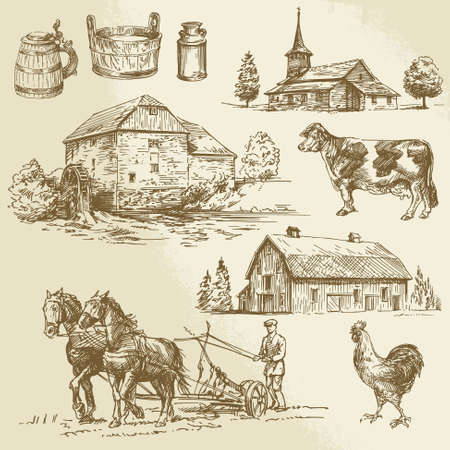 old hand: rural landscape, farm, hand drawn watermill  Illustration