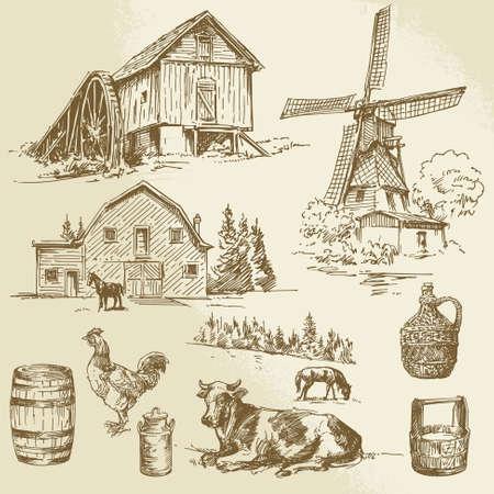 molino de agua: paisaje rural, granja - dibujado a mano molino de viento y molino de agua
