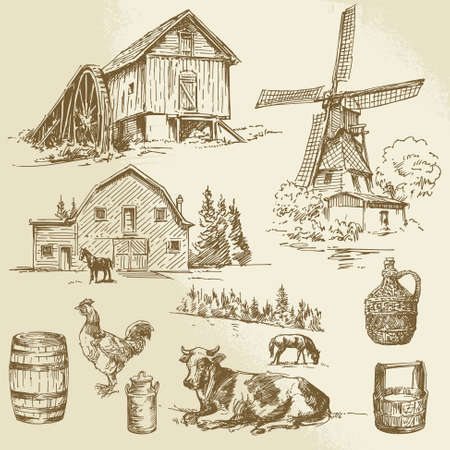 rural landscape, farm - hand drawn windmill and watermill Illustration