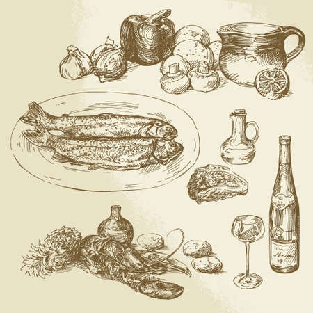 lobster pots: collection of food - hand drawn illustration