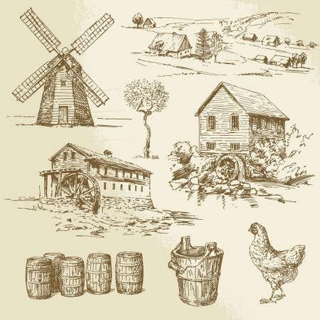 обращается: Водяная мельница и мельница - рисованной коллекция Иллюстрация