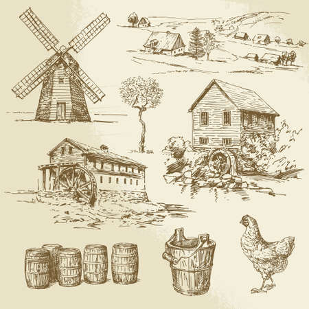 Watermill and windmill - hand drawn collection Stock Illustratie