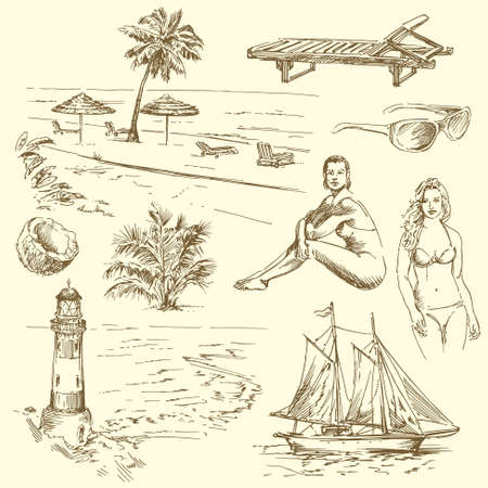 hand drawn summer collection - vector illustration  Vector