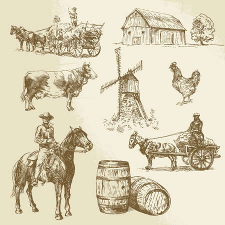 old barn: paesaggio rurale, fattoria - mulino a vento disegnato a mano