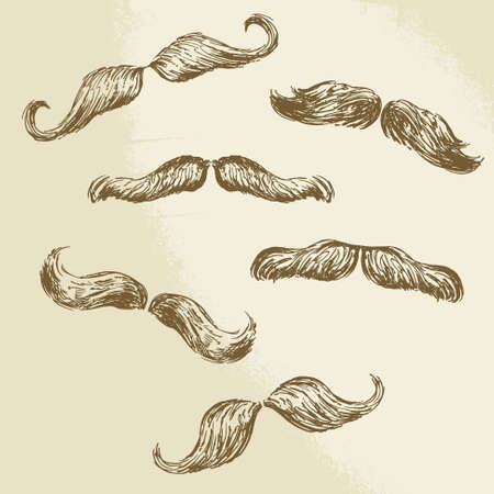 moustaches collection - hand drawn vector illustration  Vector