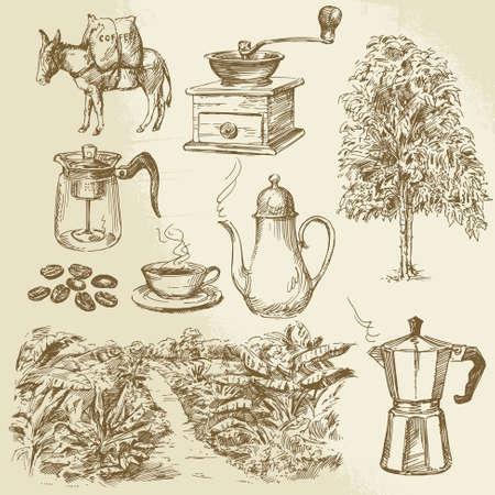 coffee beans: koffie collectie - met de hand getekende vector illustratie