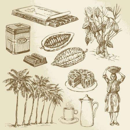 cacao: chocolate colecci�n - dibujado a mano ilustraci�n vectorial
