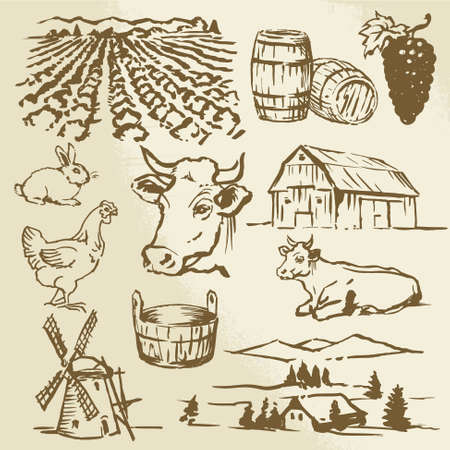 farm, cow, agriculture - hand drawn collection Vector