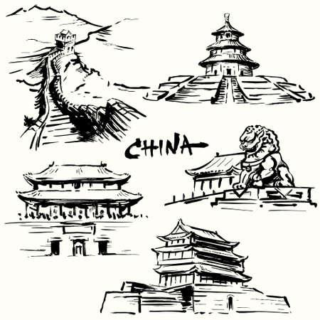 tempels: China, Peking - Chinese erfgoed Stock Illustratie