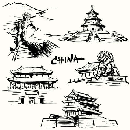 China, Peking - chinese heritage  Vector